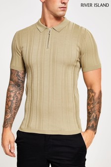 River Island Camel Zip Neck Polo
