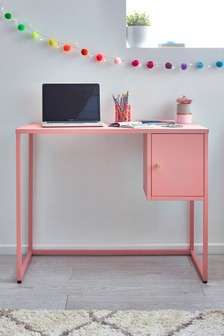 Pink Metal Locker Desk