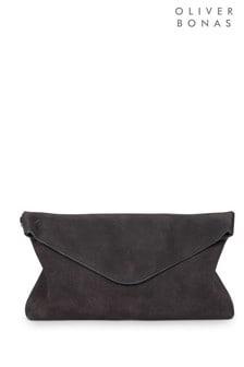 Oliver Bonas Grey Suede Envelope Clutch Bag