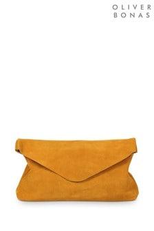 Oliver Bonas Yellow Suede Envelope Clutch Bag
