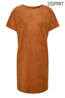 Esprit Brown Stretch Dress In Faux Suede