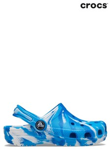 Crocs Blue Classic Marbled Clogs