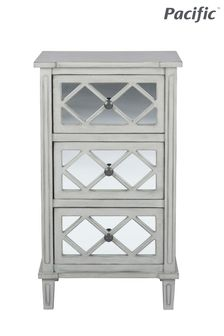 Pacific Lifestyle Dove Grey Mirrored Pine Wood 3 Drawer Unit