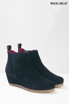 White Stuff Blue Issy Wedge Ankle Boots