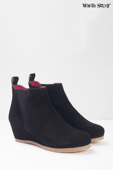 White Stuff Black Issy Wedge Ankle Boots