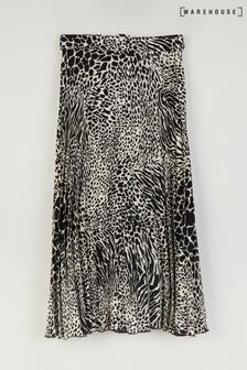 Warehouse Black Mixed Animal Pleated Midi Skirt
