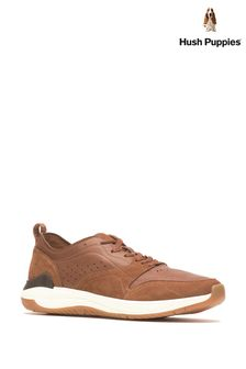 Hush Puppies Brown Felix Perf Lace Trainers