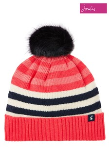 Joules Red Chillaway Hat Knitted Beanie With Pom