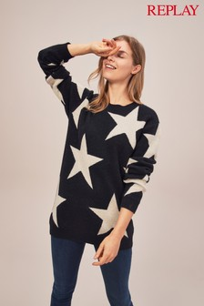 Replay® Black Wool Blend With White Star Knit Jumper