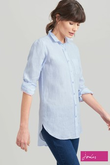 Joules Blue Jeanne Plain Longline Linen Shirt