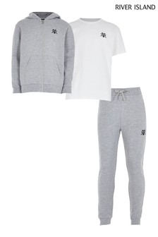River Island Grey Hoodie, T-Shirt And Joggers 3 Piece Set