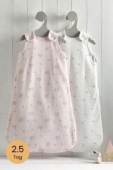 2 Pack Pink Bunny Floral 2.5 Tog Sleep Bags
