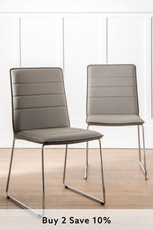 Set of 2 Wilby Dining Chairs With Chrome Legs