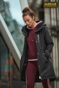Barbour® International Black & Khaki Green Waterproof Rueka Rain Jacket