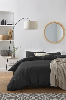 Black Cotton Rich Duvet Cover And Pillowcase Set