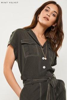 Mint Velvet Green Khaki Cropped Tencel Shirt