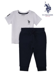 U.S. Polo Assn. White Player 3 T-Shirt And Joggers Set