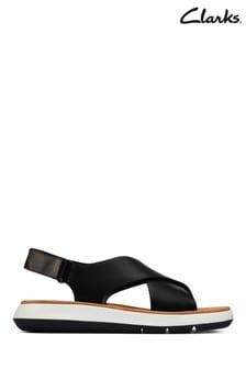 Clarks Black Leather Jemsa Cross Sandals