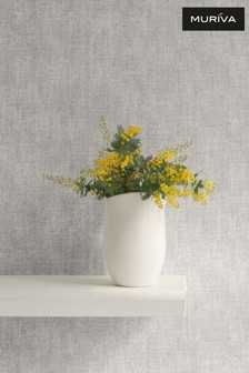 Muriva Grey Darcy James Linen Texture Wallpaper