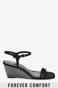 Square Toe Shimmer Wedge Sandals