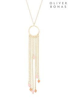Oliver Bonas Multi Amity Multi Chain & Stone Drop Necklace