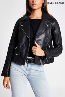 River Island Black Leather Geller Biker Jacket
