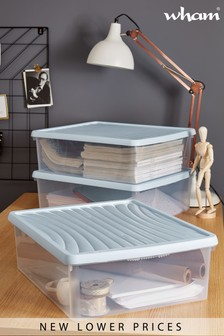 Set of 3 Wham 23.5Ltr Plastic Storage Boxes And Lids