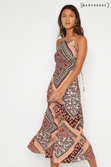 Warehouse Black Paisley Pattern Tiered Midi Cami Dress
