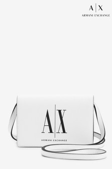 Armani Exchange White Logo Cross Body Bag