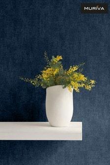 Muriva Blue Darcy James Linen Texture Wallpaper