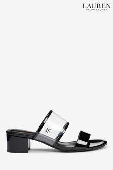 Ralph Lauren White Perspex Leather Whitni Mules