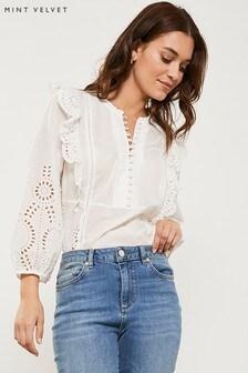 Mint Velvet White Ivory Cotton Broderie T-Shirt