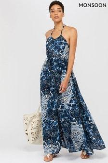 Monsoon Ladies Blue Jordana Animal Print Halter Dress