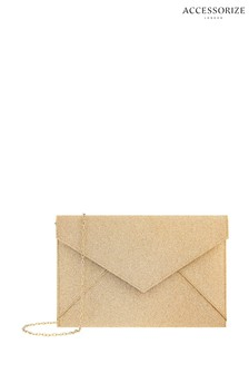 Accessorize Gold Lily Glitter Envelope Clutch Bag