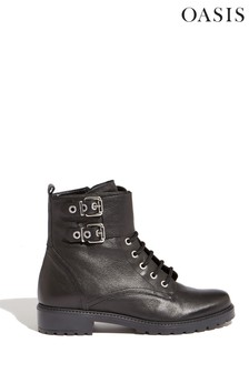 Oasis Black Leather Lace-Up Boots
