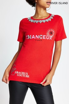 River Island Red Necklace Chanceux T-Shirt