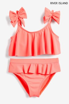 River Island Bright Coral Bow Shelf Bikini