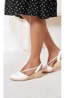 Closed Toe Espadrille Low Wedge Sandals