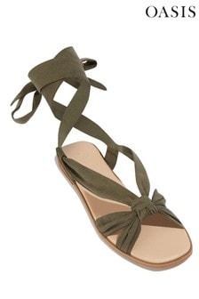 Oasis Green Ankle Tie Flat Sandal