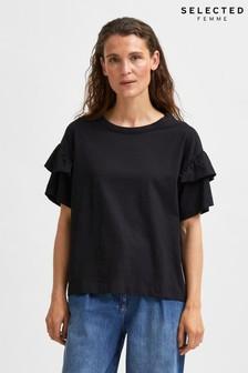 Selected Femme Black Frylie Frill T-Shirt