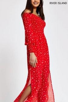 River Island Red Timo Bardot Maxi Dress