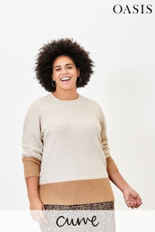Oasis Natural Curve Colourblock Jumper