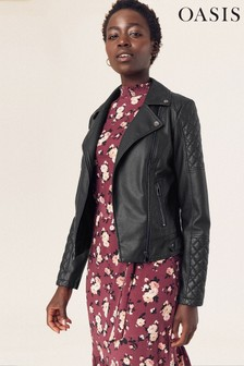 Oasis Black Faux Leather Biker Jacket