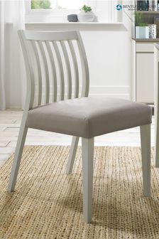 Set of 2 Bergen Soft Grey Low Slat Bonded Leather Dining Chairs By Bentley Designs