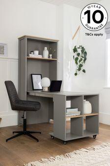 Malvern Dove Grey Bookcase to Desk
