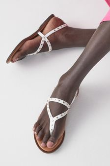 Forever Comfort® Studded Toe Thong Sandals
