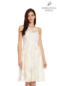 Adrianna Papell White Embroidered Sequin Midi Dress