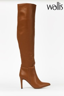 Wallis Puzzle Tan Straight Heel Over The Knee Boots