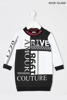River Island White/Black River Amour Sweat Dress