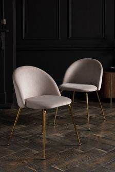 Set of 2 Iva Dining Chairs With Gold Finish Legs
